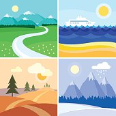 Four Seasons Landscape square icon set. Flat elements easy to edit.