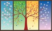 Seasons of the year - spring, summer, autumn, winter. Art tree.