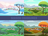 Four seasons of village view: spring, summer autumn and winter. Vector cartoon landscape