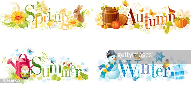 Vector Art : Four seasons: Spring, Summer, Autumn, Winter text banners