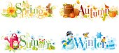 Four seasons: Spring, Summer, Autumn, Winter text banners, nature elements and textures.