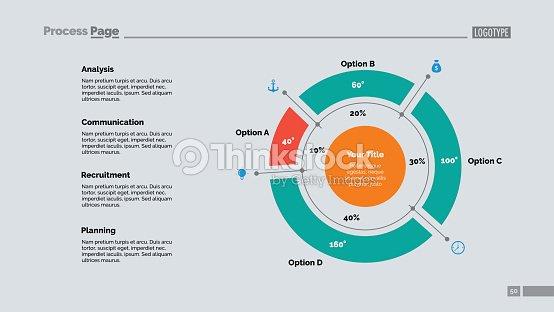 Four Sectors Doughnut Chart Slide Template stock vector - Thinkstock