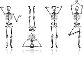 Four Skeleton Sketches In Various Poses stock vector