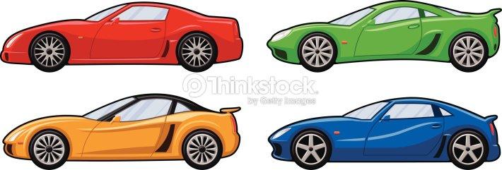 quatre voitures de sport clipart vectoriel thinkstock. Black Bedroom Furniture Sets. Home Design Ideas