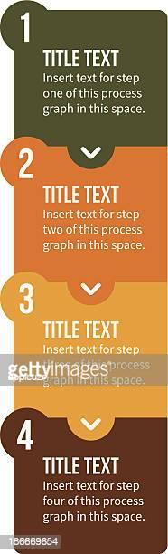Vier Schritt vertikale Prozess Chart