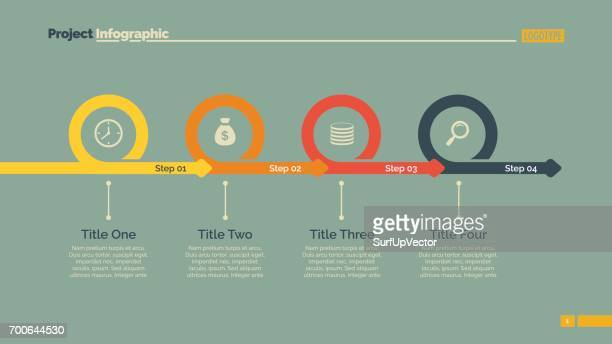 Vier Schritte Timeline Diavorlage