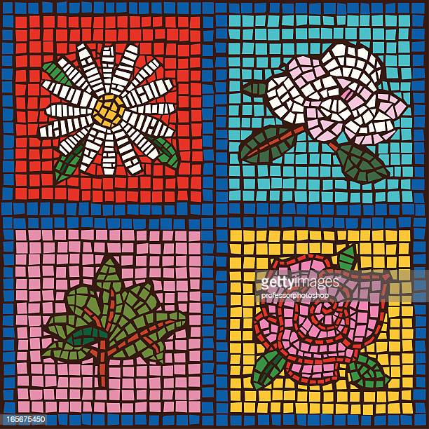 Four Tile Flowers