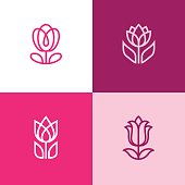 Set of four abstract linear flower icons. Tulip cymbol