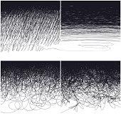 Four types doodles: uniform, wide, curlicues, chaotic. Design backgrounds set, vector, EPS8