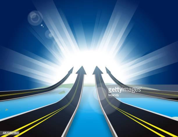 Quattro strade in terra verso l'alto