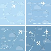 Four vector illustration with flight planes.