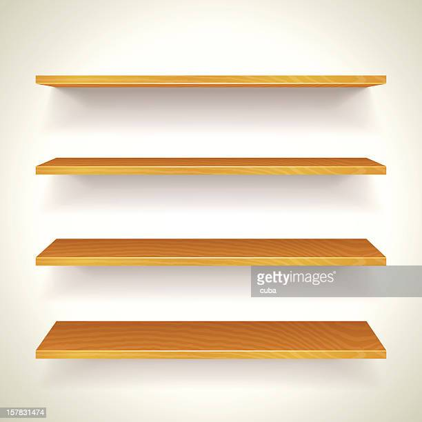 Four wooden bookshelves on one another attached to a wall