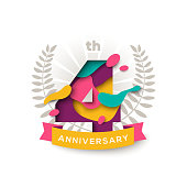 Four years anniversary celebration background with abstract paper cut shapes and ribbon isolated on white. Poster, greeting card and brochure template. Vector illustration. Laurel wreath