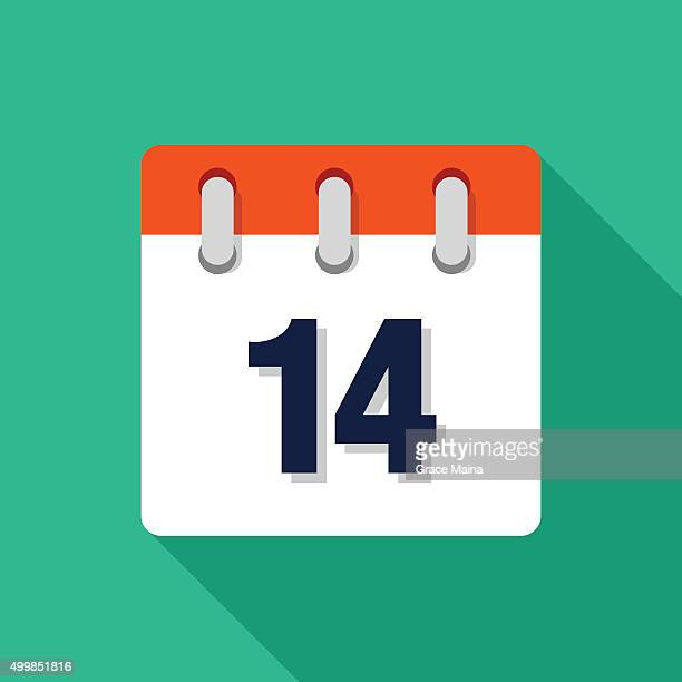 Fourteenth Flat Design Calendar Icon - VECTOR