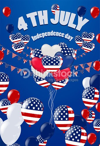 Fourth of July. 4th of July holiday banner. USA Independence Day banner for sale. National American Greeting. Vector with American flags