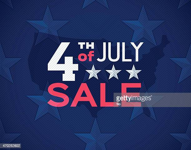 Fourth of July Sale Seamless Stars Background
