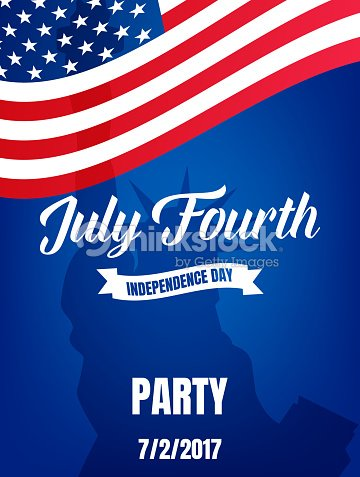 Fourth of July. USA Independence Day party poster. 4th of July holiday event banner