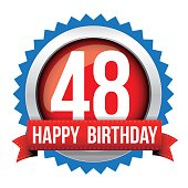 Fourty eight years happy birthday badge ribbon