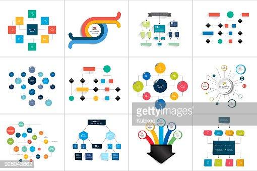 Fowcharts schemes, diagrams. Mega set. Simply color editable. Infographics elements. : stock vector
