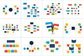 Mega set of various  flowcharts schemes, diagrams. Simply color editable. Infographics elements.