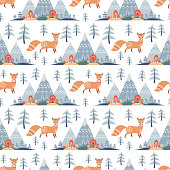 Decorative seamless pattern in folk style with fox. Colorful vector background.