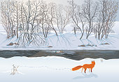 Vector illustration of a winter forest with a fox that tries to hunt two ducks in the river.