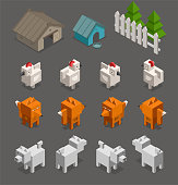 Fox chicken end dog character 3d Isometric set for arcade game low poly. Farm, doghouse fence and tree. Vector stock illustration.