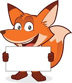 Clipart picture of a fox cartoon character holding a blank sign