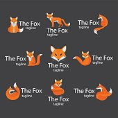 Fox vector logo set