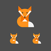 Fox Template. Logotype Set. Animal Emblem. Vector