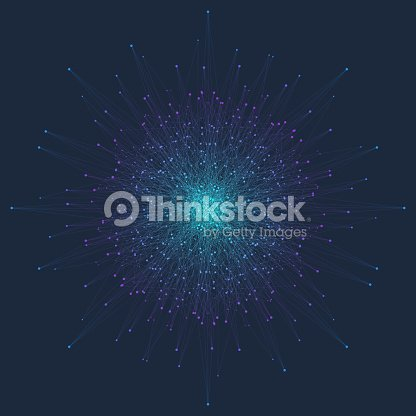 Fractal element with connected line and dots. Virtual background communication or particle compounds. Minimalist style concentric circle. Digital data visualization. Lines plexus. Vector illustration : stock vector