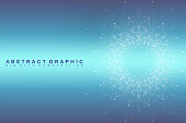 Fractal element with connected line and dots. Virtual background communication or particle compounds. Global network connection. Digital data visualization. Vector illustration