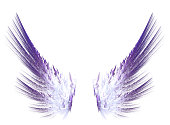 Fractal purple wings on white isolated background. Wings for the angel. For collages and work in digital programs.