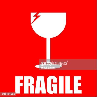 fragile, sticker : stock vector