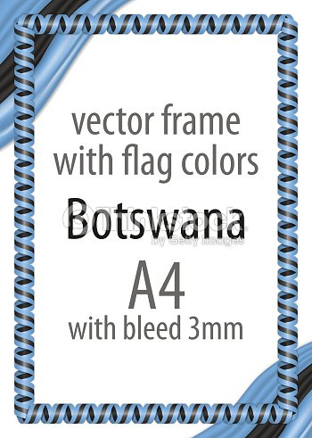 Frame And Border Of Ribbon With The Colors Of The Botswana Flag
