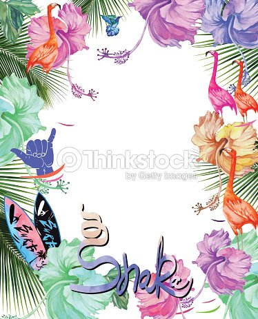 Frame For Design Watercolor Tropical Flowers Palm Tree And Birds ...