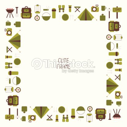 Frame Of Camping Equipment Symbols And Icons In Flat Style Vector Art