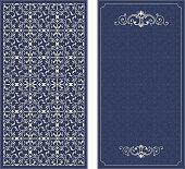 Frame on damask seamless background. Vector decorative retro greeting card or invitation design. Exquisite rich and solemn Arabic pattern, stylish, elegant and modern interpretation of Islamic motifs.