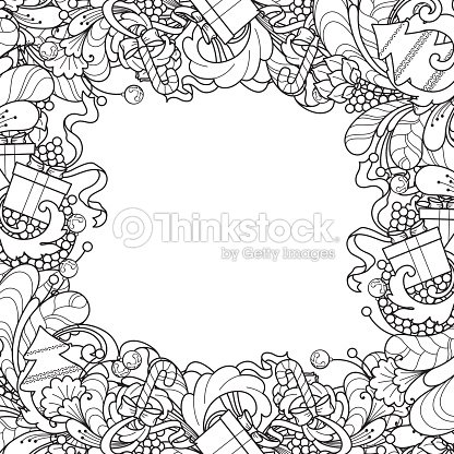 Frame With Christmas Tree Gift Box Bells In Doodle Styl Vector Art