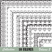 A collection of 10 frames arranged diagonally from the upper left corner to the bottom right corner showing the corners of designs in black against a white background. Design framework is included in