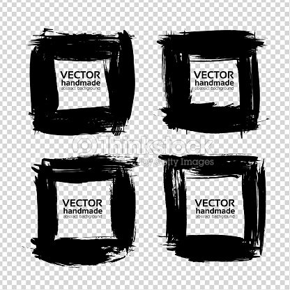 Frames From Thick Black Paint Textured Strokes Set Isolated On