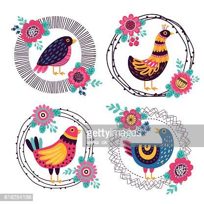 frames with decorative birds : Arte vetorial