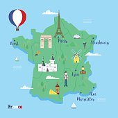 France. Colorful travel maps with popular landmarks: the Eiffel tower, the metro, the arc de Triomphe. Vector concept in flat style.