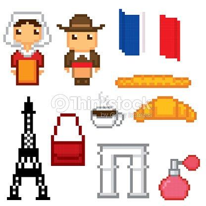 France Culture Symbols Icons Set Pixel Art Old School Computer
