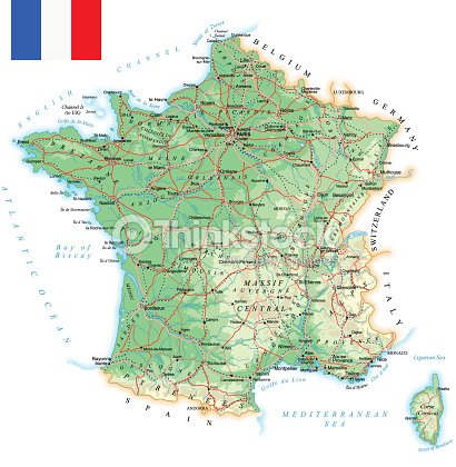 Belgium Topographic Map.France Detailed Topographic Map Illustration Vector Art Thinkstock