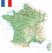 Large detailed road map of France