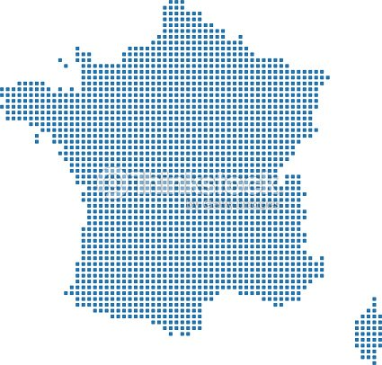 France Dotted Map France Map Dots Highly Detailed Pixelated France ...