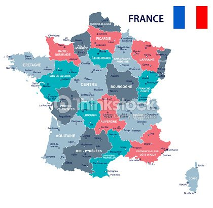 France Map Flag.France Map And Flag Illustration Vector Art Thinkstock