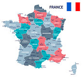 France map and flag - vector illustration