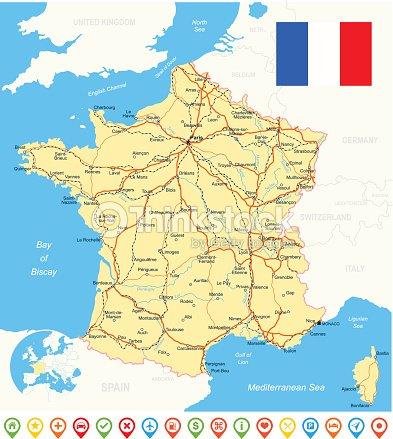 France map flag navigation icons roads rivers illustration vector art think - Villes d ile de france ...